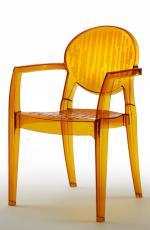 Дизайнерски стол прозрачен с оранжево