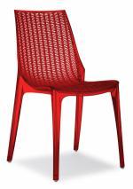 Дизайнерски стол прозрачен червен