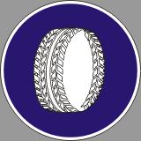 Пътен знак - Г19 - Задължителни вериги за сняг най-малко на две от двигателните колела