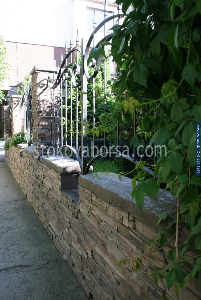облицовка на ограда с гнайс
